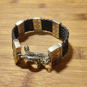 faux leather and silver bracelet